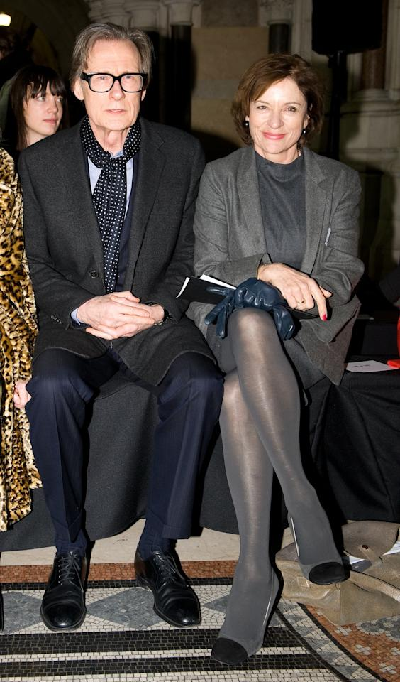 "<p class=""MsoNormal""><span>British Actor Bill Nighy and his longtime partner, actress Diana Quick, attended the Nicole Farhi show at the Royal Courts of Justice, where they also chatted with Anna Wintour. <br></span></p><p class=""MsoNormal""><span>(Photo by Samir Hussein/Getty Images)</span></p>"