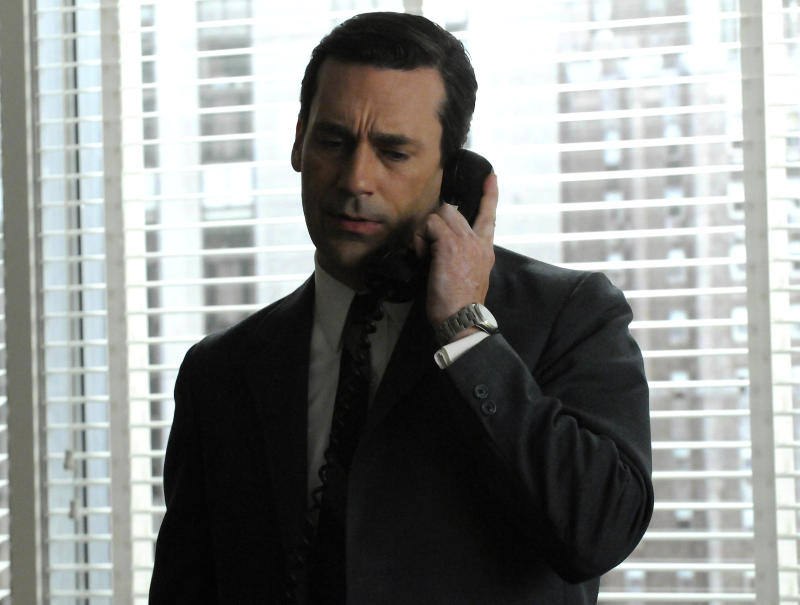 "In this undated publicity image released by AMC, Jon Hamm portrays Don Draper in a scene from the AMC series, ""Mad Men."" (AP Photo/AMC)"