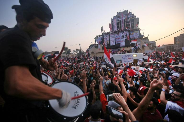 An unprecedented youth-led protest movement broke out in October 2019 against a political class widely blamed for graft, unemployment and crumbling public services (AFP/AHMAD AL-RUBAYE)