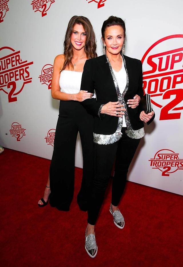 Lynda Carter with her daughter, Jessica Altman, at the <em> Super Troopers 2</em> premiere in New York on April 18. (Photo: Paul Zimmerman/WireImage)