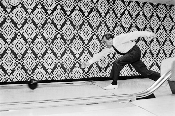 Richard Nixon was an avid fan of bowling. (National Archives)