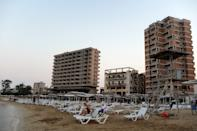 Varosha, an area fenced off by the Turkish military since the 1974 division of Cyprus, is seen from a beach in Famagusta, Cyprus, August 5, 2019. Picture taken August 5, 2019. REUTERS/Murad Sezer