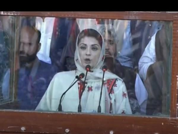PML-N Vice President Maryam Nawaz speaking at the Quetta rally on Sunday.