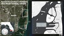 Map of Miami, Florida, locating a partially collapsed 12-story oceanfront apartment building where rescuers continue to search for survivors with scores of people unaccounted for