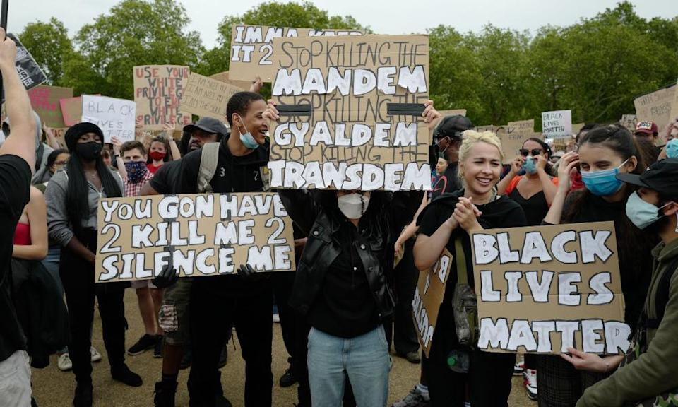 Young activists at a Black Lives Matter protest in Hyde Park, London.