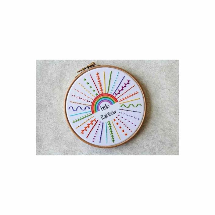 """<p><strong>TheEmbroideryCart</strong></p><p>etsy.com</p><p><strong>$32.16</strong></p><p><a href=""""https://go.redirectingat.com?id=74968X1596630&url=https%3A%2F%2Fwww.etsy.com%2Flisting%2F840512061%2Fhello-rainbow-embroidery-kit-embroidery&sref=https%3A%2F%2Fwww.oprahdaily.com%2Flife%2Fg37101463%2Fbest-embroidery-kits%2F"""" rel=""""nofollow noopener"""" target=""""_blank"""" data-ylk=""""slk:SHOP NOW"""" class=""""link rapid-noclick-resp"""">SHOP NOW</a></p><p>If you've never picked up a needle and thread before, you'll appreciate this starter kit made specifically for beginners. It comes with everything you need, so you don't have to blindly shop for supplies, plus it walks you through more than a dozen of the most common stitches. </p>"""