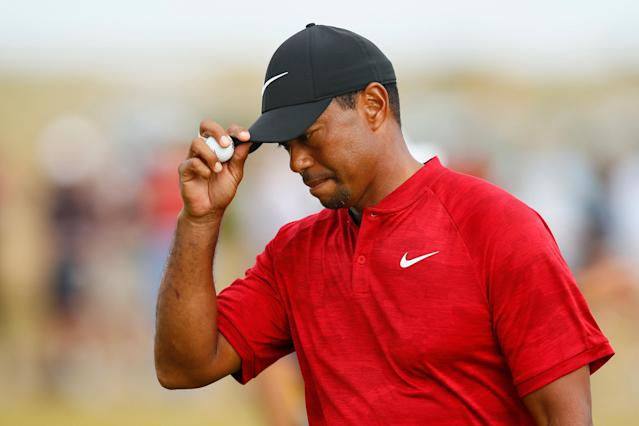 At the 147th Open Championship in Carnoustie, Britain on July 22, 2018 Tiger Woods of the U.S. reacts during the final round. Woods finished tied for sixth place. REUTERS/Jason Cairnduff