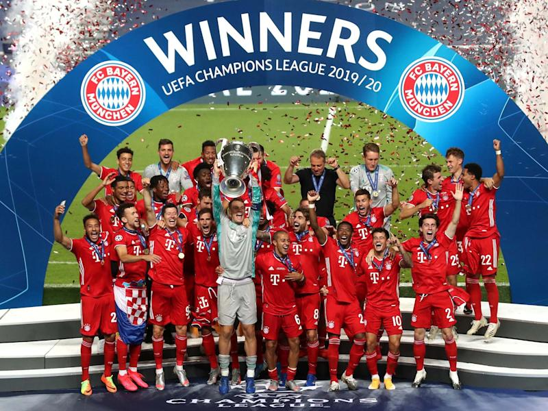 Bayern captain Manuel Neuer lifts the Champions League trophy: Getty