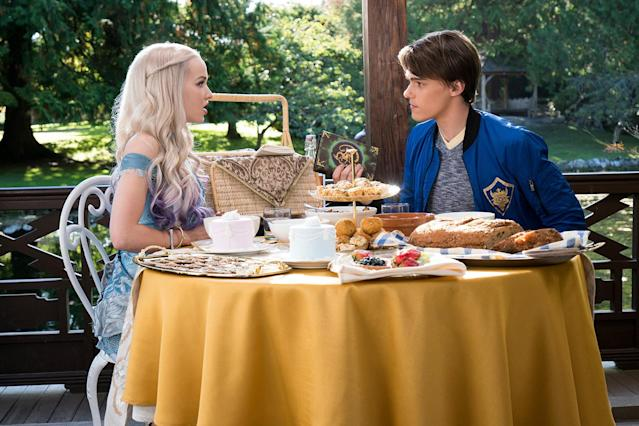 Dove Cameron and Mitchell Hope in a scene from <em> Descendants 2.</em> (Photo: Everett Collection)