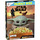 """<p><strong>General Mills</strong></p><p>walmart.com</p><p><strong>$3.64</strong></p><p><a href=""""https://go.redirectingat.com?id=74968X1596630&url=https%3A%2F%2Fwww.walmart.com%2Fip%2F733565745&sref=https%3A%2F%2Fwww.delish.com%2Fkitchen-tools%2Fcookware-reviews%2Fg29568867%2Fstar-wars-gifts%2F"""" rel=""""nofollow noopener"""" target=""""_blank"""" data-ylk=""""slk:BUY NOW"""" class=""""link rapid-noclick-resp"""">BUY NOW</a></p><p>Uhh, did you know Disney made its own <em>Star Wars </em>cereal?! Lucky Charms has some competition: This one's made with fruity flavored cereal and movie-themed marshmallow pieces. </p>"""