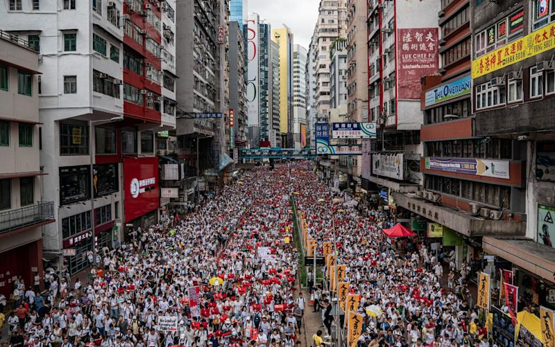 Hundreds of thousands took to the streets in Hong Kong this weekend to protest against a controversial extradition bill that would allow the territory to send suspected fugitives to mainland China for the first time - Getty Images AsiaPac