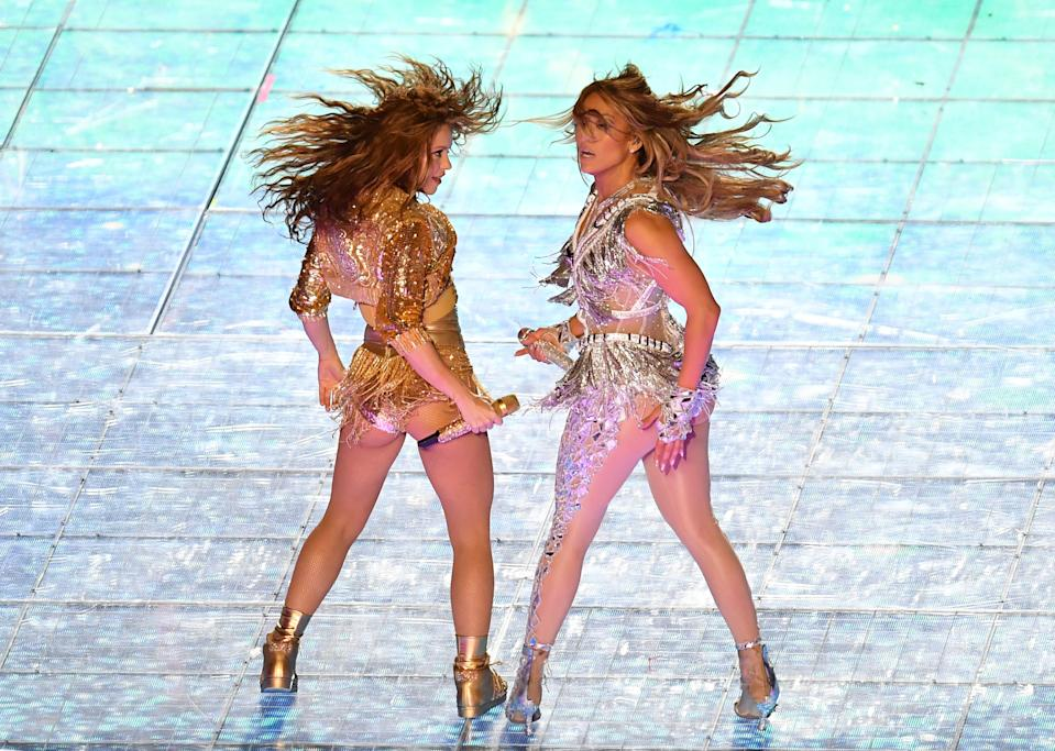 Jennifer Lopez and Shakira slayed their halftime show performance. (Photo by ANGELA WEISS/AFP via Getty Images)