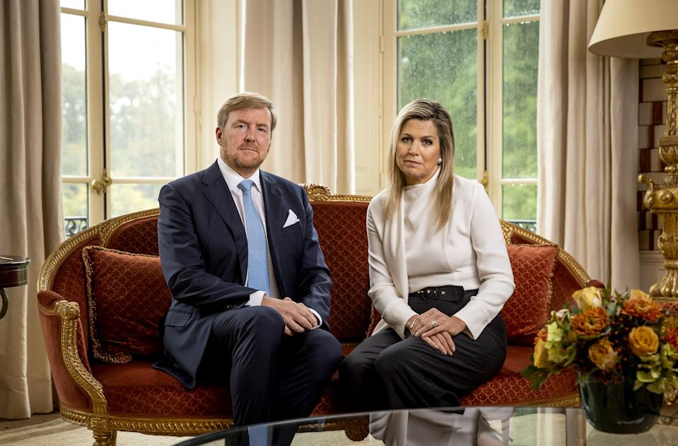 Dutch King Willem-Alexander and Queen Maxima take part in the recording of a personal video message in which the king discusses the cancellation of their holiday to Greece, on October 21, 2020 in The Hague. - The Dutch king and queen said they will cut short a holiday in Greece on October 17 after facing criticism for taking a vacation when the Netherlands is under a partial coronavirus lockdown.