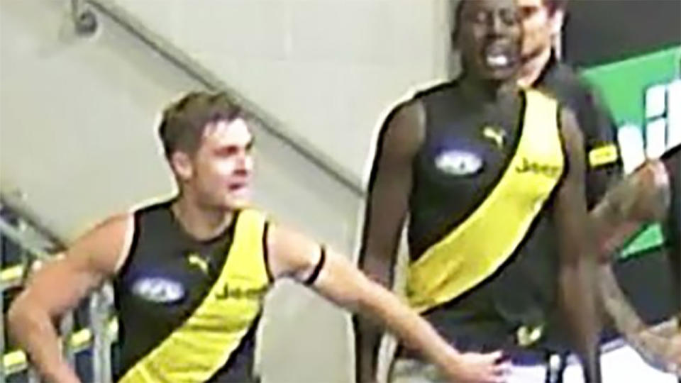Jayden Short has apologised to Mabior Chol after footage from cameras in the Richmond Tigers rooms appeared to show him grabbing the genitals Chol. (Picture: Fox Sports)