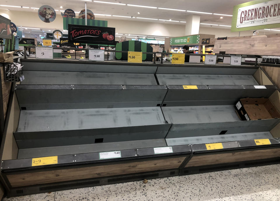 Empty shelves at a Morrisons supermarket in Whitley Bay. Picture date: Monday March 16, 2020. Retailers have reported a rise in abuse of staff amid coronavirus panic-buying, despite supermarkets calling for calm from shoppers. See PA story HEALTH Coronavirus Retail. Photo credit should read: Owen Humphreys/PA Wire (Photo by Owen Humphreys/PA Images via Getty Images)