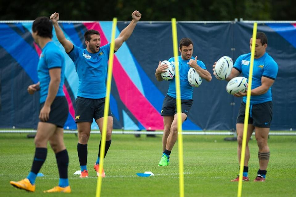 Argentina players attend a training session at Haileybury and Imperial Service College team base in Hertford, north of London on September 18, 2015 (AFP Photo/Bertrand Langlois)