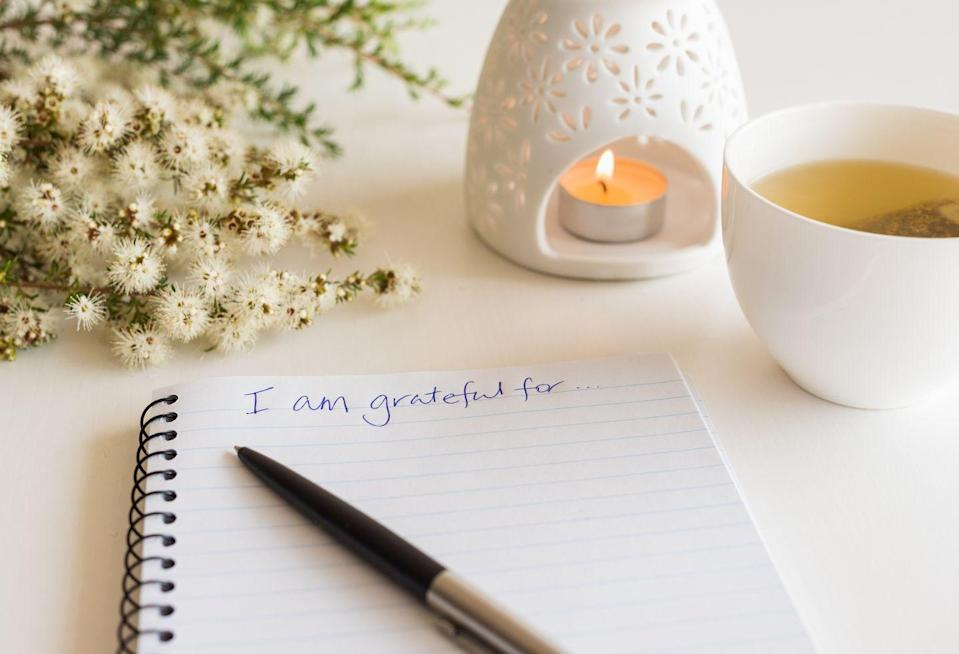 """<p>Spend 5 minutes each morning practicing gratitude. You can jot down three to five things that you feel grateful for, and it shouldn't take longer than a few moments. </p><p>In a series of studies, researchers encouraged people to <a href=""""https://greatergood.berkeley.edu/article/item/why_gratitude_is_good/"""" rel=""""nofollow noopener"""" target=""""_blank"""" data-ylk=""""slk:keep a daily gratitude journal"""" class=""""link rapid-noclick-resp"""">keep a daily gratitude journal</a> to track what they feel grateful for. They studied more than 1,000 people from ages eight to 80, and found that people who practice gratitude every day consistently reported feeling more joy and pleasure, more optimism and happiness, and just an overall sense of wellbeing, among many other benefits. </p>"""