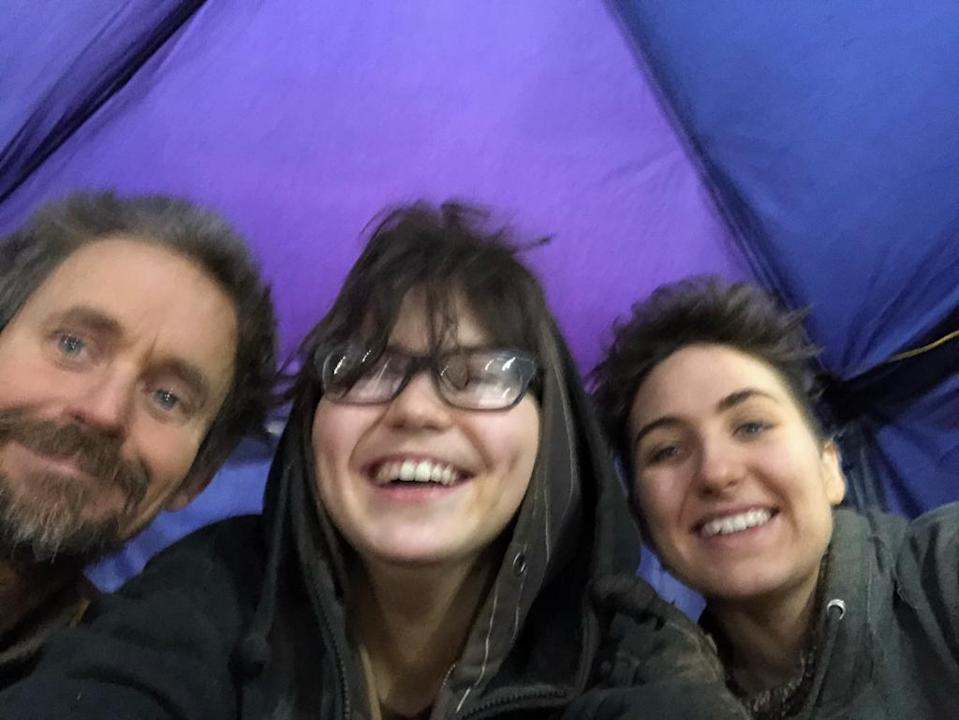 Three more activists left the tunnel on Thursday, including Swampy (left) and Blue Sandford (centre) (HS2 Rebellion/PA)