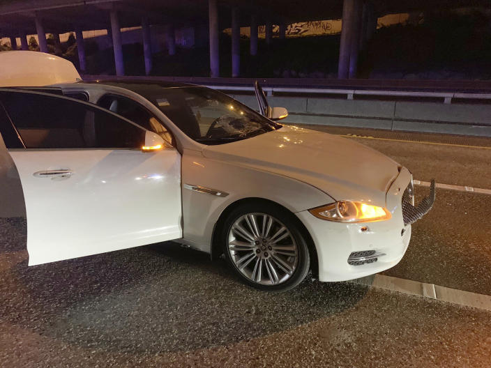 This early Saturday, July 4, 2020 photo provided by the Washington State Patrol shows the vehicle of Dawit Kelete who is suspected of driving into a protest on Interstate 5 in Seattle. Seattle has been the site of prolonged unrest following the May 25 police killing of George Floyd in Minneapolis. (Washington State Patrol via AP)