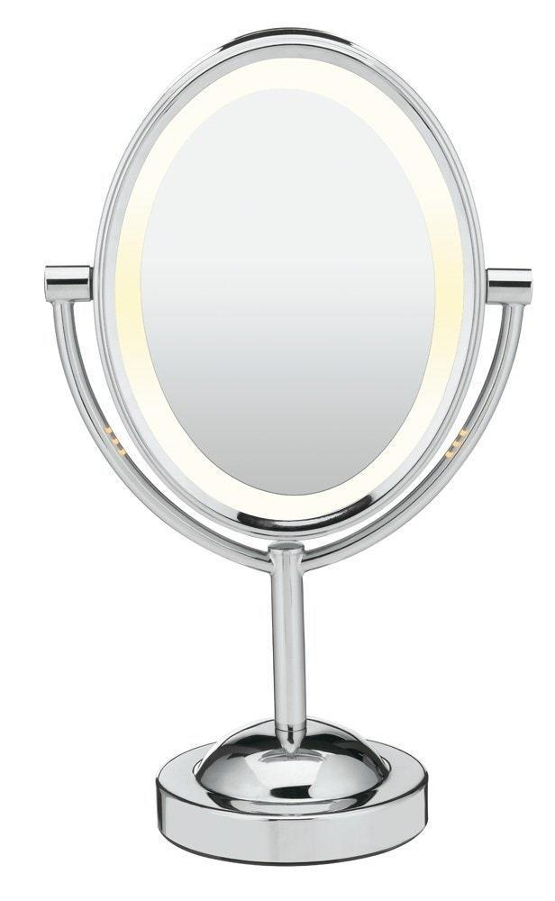 "This basic, budget-friendly makeup mirror is a great value. One side has 1X magnification and the other has 7X magnification. Whether you're tweezing your eyebrows or applying makeup, it's awesome to have on hand. Amazon reviewers give it 4.1 out of 5 stars. This is one of <em>many</em> glowing reviews: ""Awesome mirror! It's just the right size, and the lighting is perfect. Having lighting on both sides is great. I've never been able to pluck my eyebrows so well! It's especially good for people such as myself who need to be able to get very close to the mirror in order to do makeup without glasses on. Also, the lighting makes it so that I never go outside and realize my makeup is way too dark or light because the lighting I did it in was bad. It also looks cute, which is a plus."" <em>—Savannah, reviewer on</em> <a href=""https://www.amazon.com/dp/B003JFBXMM?tag=glamour0d7-20&ascsubtag=#customerReviews"" rel=""nofollow noopener"" target=""_blank"" data-ylk=""slk:Amazon"" class=""link rapid-noclick-resp""><em>Amazon</em></a> $40, Amazon. <a href=""https://www.amazon.com/dp/B003JFBXMM"" rel=""nofollow noopener"" target=""_blank"" data-ylk=""slk:Get it now!"" class=""link rapid-noclick-resp"">Get it now!</a>"