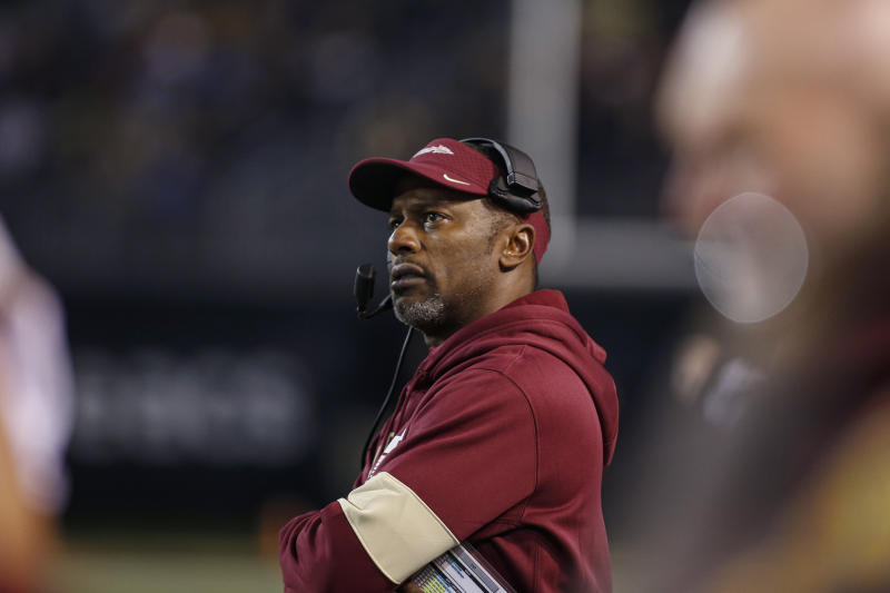 Florida State coach Willie Taggart watches his team play Wake Forest during the first half of an NCAA college football game in Winston-Salem, N.C., Saturday, Oct. 19, 2019. Wake Forest won 22-20. (AP Photo/Nell Redmond)