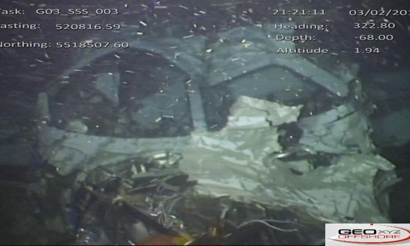 The windscreen and cockpit area of the wreckage of the plane