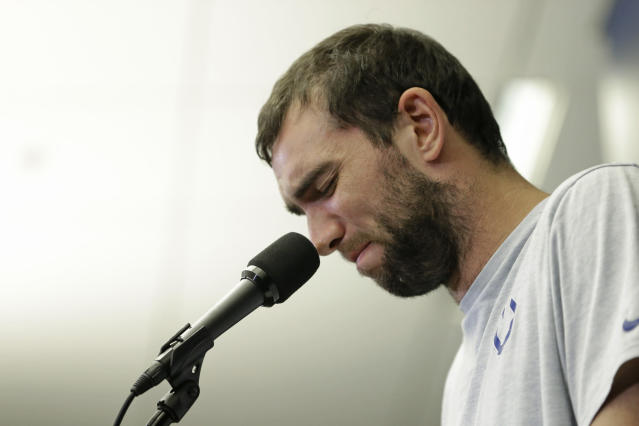 Colts quarterback Andrew Luck speaks during a media conference following a preseason game against the Chicago Bears on Saturday in Indianapolis. The oft-injured star is retiring at age 29. (AP Photo/AJ Mast)