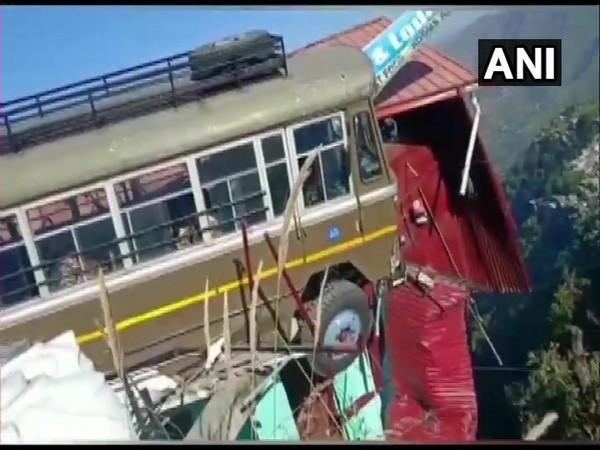 A Indo-Tibetan Border Police (ITBP) bus lost control near Kempty Falls. (Photo/ANI)