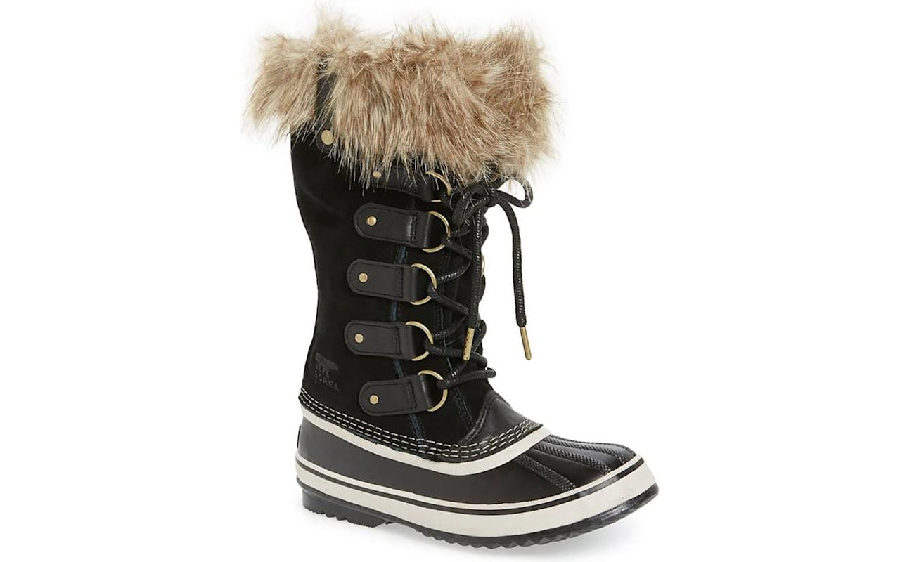 """<p>These cute boots by Sorel will keep your feet warm and dry thanks to the faux fur trim and lace-up design that prevents water from creeping in. They are also temperature-resistant to -25 degrees Fahrenheit and boast a durable rubber sole. """"These snow boots are the best I've ever purchased, I now have two pairs because they're just so good. My feet stay warm, they stay dry and they're a great height for deep snow which happens often in Buffalo. I cannot recommend them enough,"""" raved one customer. </p> <p>To buy: <a href=""""https://click.linksynergy.com/deeplink?id=93xLBvPhAeE&mid=1237&murl=http%3A%2F%2Fshop.nordstrom.com%2Fs%2Fsorel-joan-of-arctic-waterproof-snow-boot%2F5372646&u1=TL%2CThe14BestSnowBootstoShopThisWinter%252CAccordingtoThousandsofCustomers%2Cchenk%2CSHO%2CGAL%2C651195%2C201909%2CI"""" target=""""_blank"""">nordstrom.com</a>, $190</p>"""