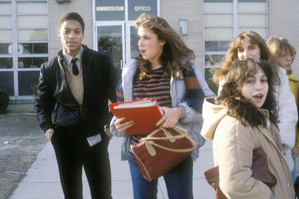 <p>Students in New Jersey congregate in front of their high school. </p>