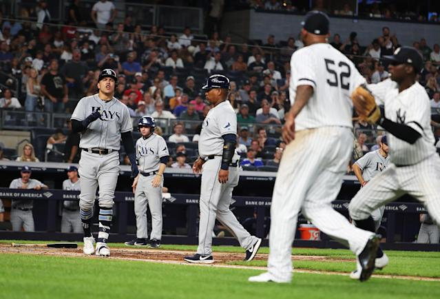 CC Sabathia keeps finding ways to get into it with the Rays. (Photo by Al Bello/Getty Images)