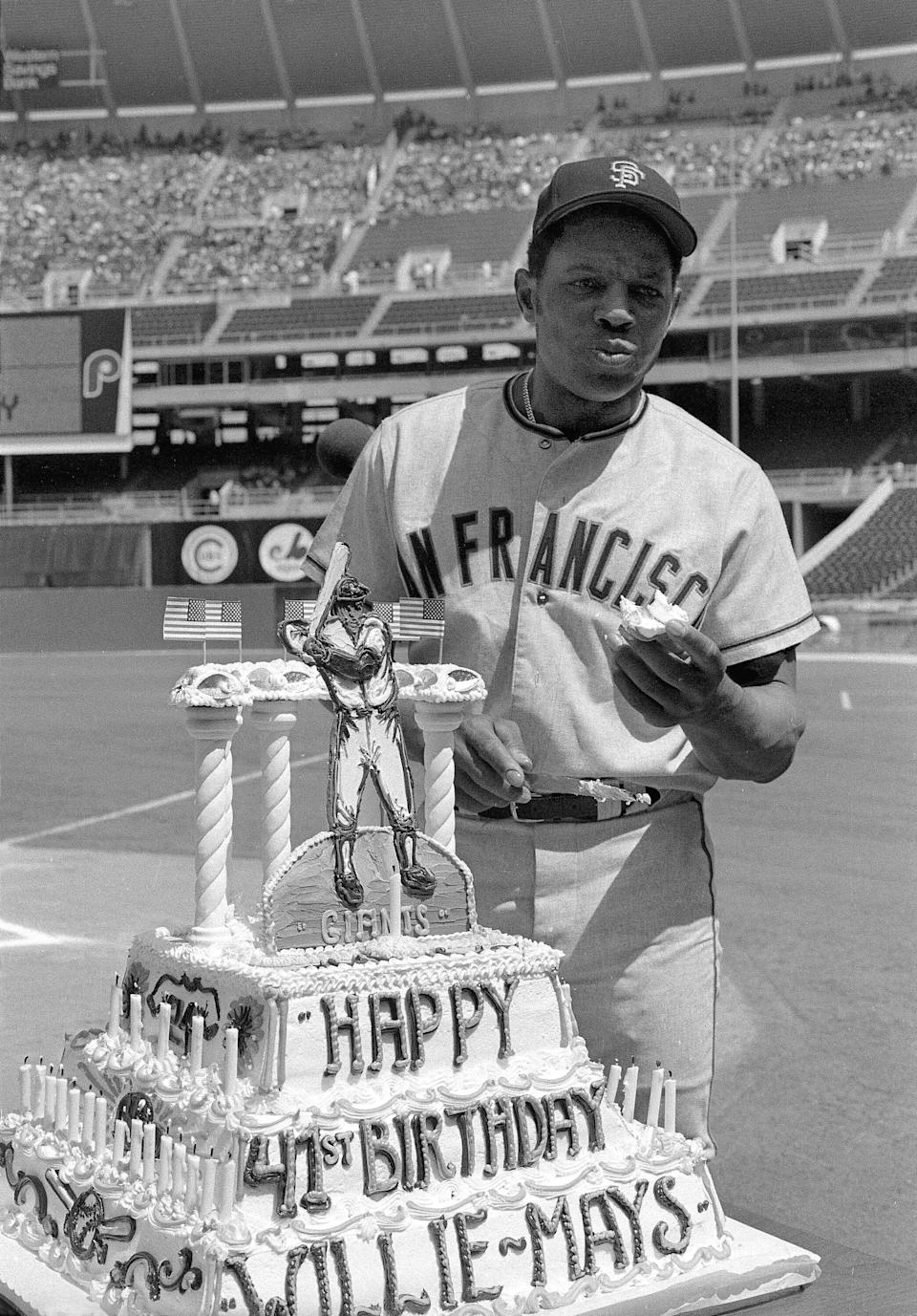 Mays celebrates his 41st birthday in with a cake presented by the Phillies in 1972.