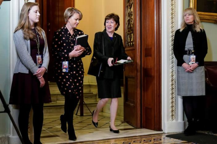 Senator Collins departs after the start of the Trump impeachment trial in Washington