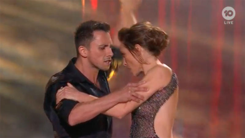 Claudia Karvan and partner Aric Yegudkin perform tango on DWTS Australia finale