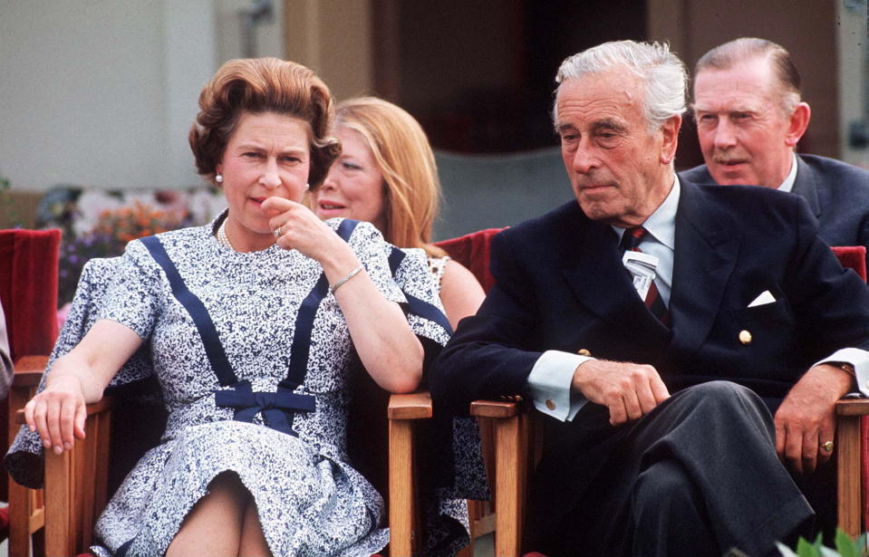 WINDSOR, UNITED KINGDOM - JULY 01:  Queen With Lord Mountbatten At A Polo Match. At Back Far Right Colonel Sir John Miller The Crown Equerry To The Queen (exact Date Not Certain)  (Photo by Tim Graham Photo Library via Getty Images)