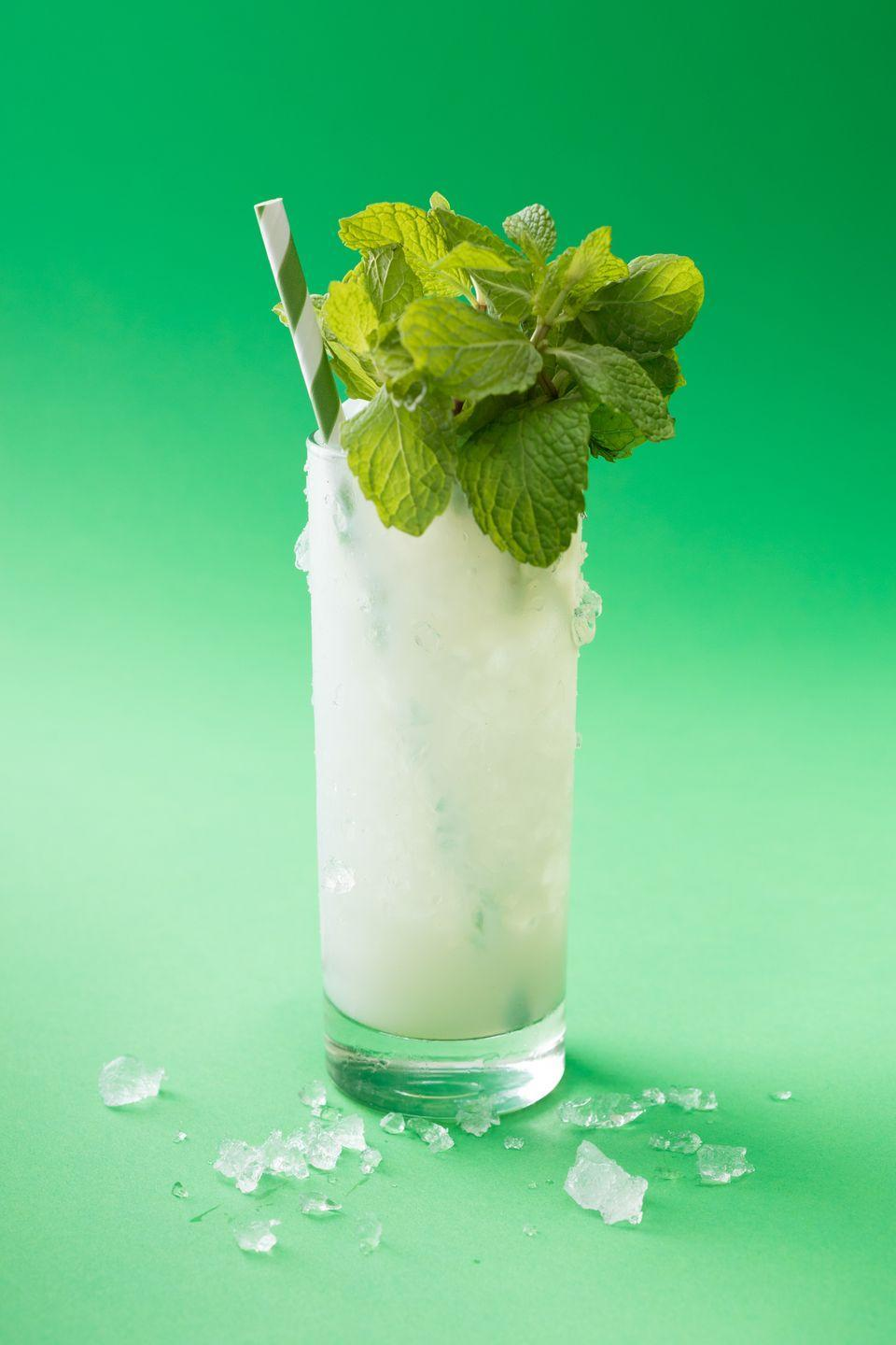 """<p>Mint leaves</p><p>1 1/5 oz Absinthe</p><p>1/2 oz Simple syrup </p><p>4 oz Seltzer</p><p>Ice<br><br>Put 8-10 mint leaves into a tall glass. Gently and briefly, so as not to break or bruise, use the back side of a bar spoon to press the leaves against the sides of the glass, until you can smell the mint. To this, add absinthe and simple syrup. Stir to combine, and add seltzer. Top fully with ice, and garnish with as much mint as your glass will hold, giving the bunches a quick slap between the hands beforehand will release oils on the surface and make the mint more aromatic. Add a straw and enjoy. <br><br><em>Via <a href=""""https://urldefense.proofpoint.com/v2/url?u=https-3A__www.thumbtack.com_ca_san-2Dfrancisco_bartenders_bartending-2Dservices-2Dsharpshooter&d=DwMFaQ&c=B73tqXN8Ec0ocRmZHMCntw&r=XweQJN9arlX6KOhqQM3zdtqnpQ6pOUqX8MnbsCYM2lI&m=AH5fjrkEsOlZzZK8HOSwYzV5HpJijwmqsYm-ByzV0VA&s=L-udC9s_u6GmclBphqV3FPJu6sVadMlvCou3nmDmsqM&e="""" rel=""""nofollow noopener"""" target=""""_blank"""" data-ylk=""""slk:Thumbtack Pro Bartender"""" class=""""link rapid-noclick-resp"""">Thumbtack Pro Bartender </a><a href=""""https://www.sharpshootersf.com/"""" rel=""""nofollow noopener"""" target=""""_blank"""" data-ylk=""""slk:Ian McCarthy"""" class=""""link rapid-noclick-resp"""">Ian McCarthy </a></em><br></p>"""