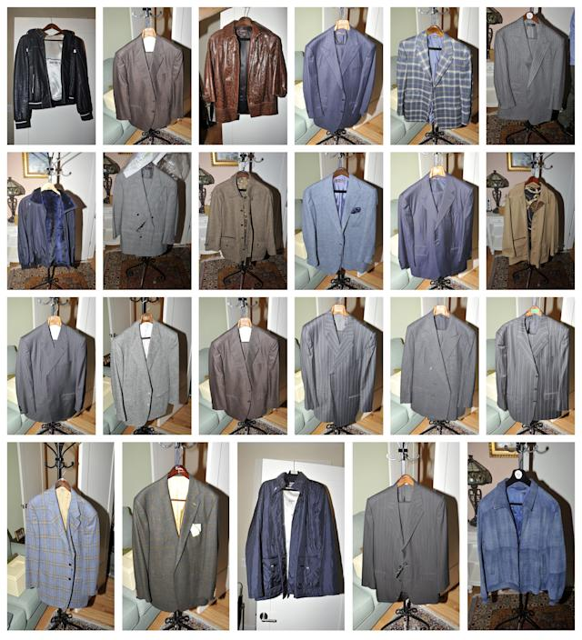 <p>Jackets included in the government's exhibits admitted into evidence, at the trial of President Donald Trump's former campaign chairman Paul Manafort, are seen in this combination image of pictures released from Special Counsel Robert Mueller's office in Washington, D.C., on Aug. 1, 2018. (Photo: Courtesy Special Counsel's Office/Handout via Reuters) </p>
