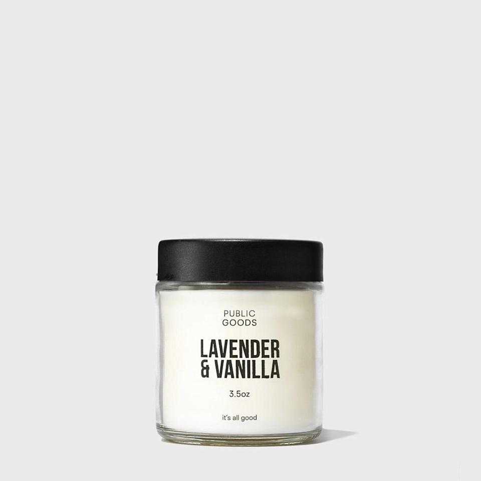 "<h2>Public Goods Lavender & Vanilla Candle</h2><br><strong>Notes:</strong> vanilla, fir needles, and tonka bean<br><strong>Made from:</strong> natural hand-poured soy wax<br><br><strong><em><a href=""https://fave.co/2Fvcz59"" rel=""nofollow noopener"" target=""_blank"" data-ylk=""slk:Shop Public Goods"" class=""link rapid-noclick-resp"">Shop Public Goods</a></em></strong><br><br><strong>public goods</strong> Lavender & Vanilla Scented Candle, $, available at <a href=""https://go.skimresources.com/?id=30283X879131&url=https%3A%2F%2Ffave.co%2F2Fvcz59"" rel=""nofollow noopener"" target=""_blank"" data-ylk=""slk:public goods"" class=""link rapid-noclick-resp"">public goods</a>"