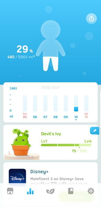 Screenshot of statistics page on the Plant Nanny app showing an image of a person, the percentage of their daily water intake, and other statistics