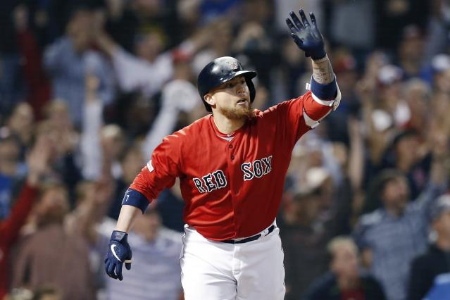 Boston Red Sox's Christian Vazquez reacts after his two-run walk off home run during the 10th inning of a baseball game against the Toronto Blue Jays in Boston, Friday, June 21, 2019. (AP Photo/Michael Dwyer)