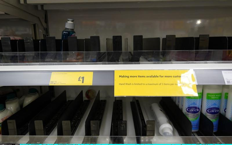 A sign limiting three items per customer is displayed in a supermarket on September 25, 2020 in Manchester, England. Tesco and Morrisons supermarkets are the first to initiate rations on essential items amid fears of panic buying  - Christopher Furlong/Getty Images