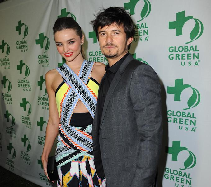 "FILE - In this Feb. 20, 2013 file photo, Orlando Bloom and Miranda Kerr arrive at Global Green USAís 10th Annual Pre-Oscar Party at the Avalon, in Los Angeles. Bloom and Kerr have confirmed the end of their marriage, saying they have been ""amicably separated for the past few months."" A spokesperson for the couple said Friday, Oct. 25, 2013, the couple had recently decided to formalize their separation after six years together. (Photo by Jordan Strauss/Invision/AP, File)"