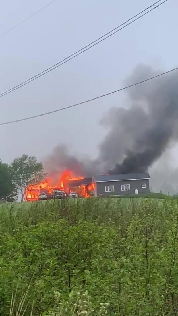 RCMP are investigating a fire that destroyed an Upper Sackville home. (Submitted by Jeff Long - image credit)