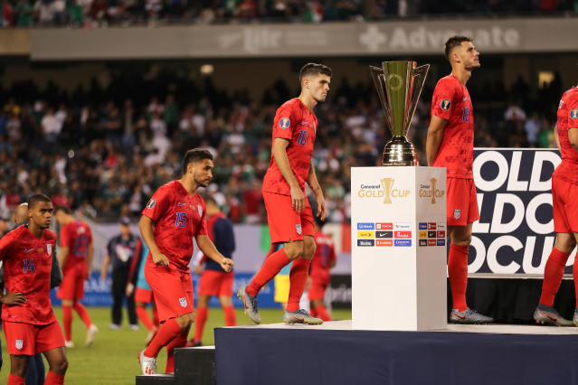 "<a class=""link rapid-noclick-resp"" href=""/soccer/players/613659/"" data-ylk=""slk:Christian Pulisic"">Christian Pulisic</a> and the USMNT fell to Mexico in the Gold Cup final. (Getty)"