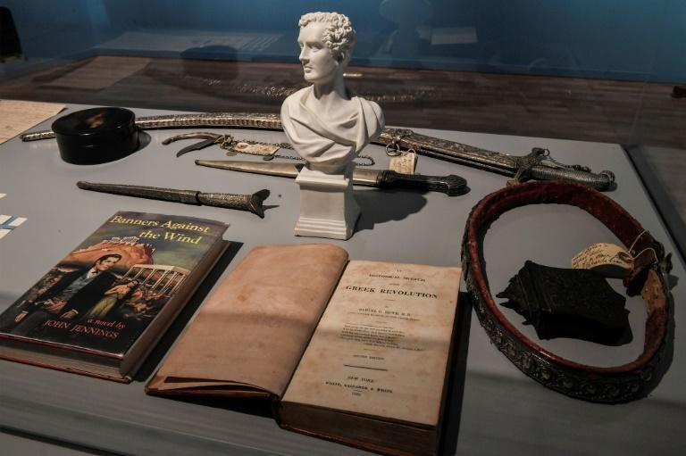 Books on the Greek revolution by Samuel Howe are displayed at the new museum