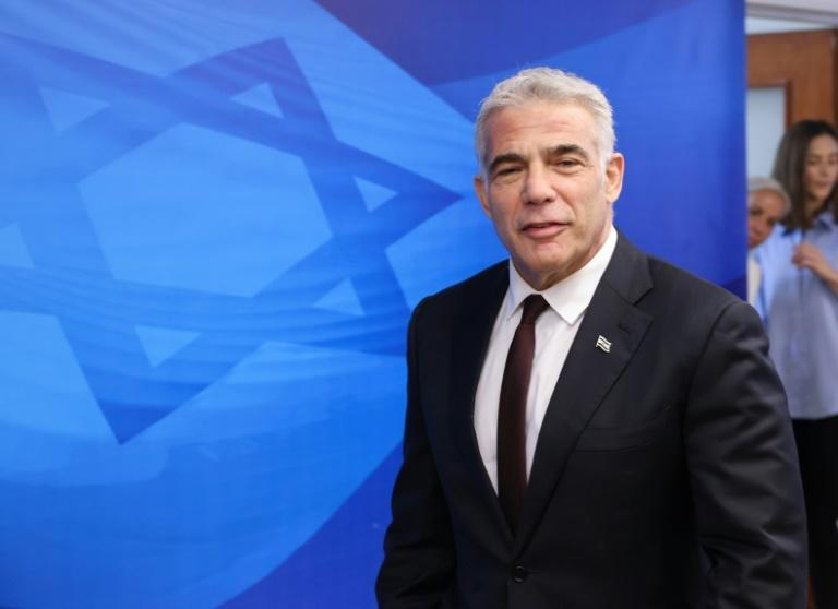 Israeli alternate prime minister and Foreign Minister Yair Lapid at the first weekly cabinet meeting of the new government in Jerusalem last week