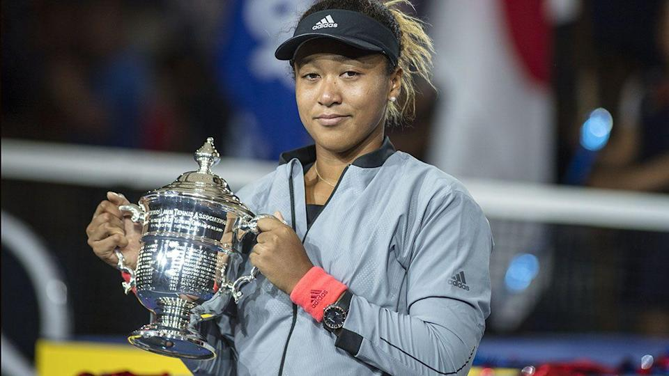 Osaka with the US Open trophy. Image: Getty