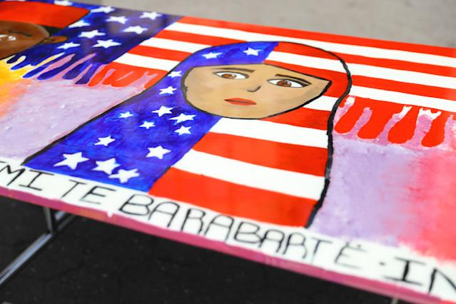 "<p>A close-up of art from the ""Immigration: We are all equal"" table in Union Square Park, New York City, on June 5, 2018. (Photo: Gordon Donovan/Yahoo News) </p>"
