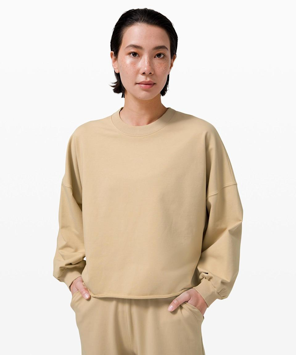 """<h2>LA Oversized Boxy Crew</h2><br><br><strong>Designed For: On The Move</strong><br>The perfect basic for every fall outfit, this stylish oversized sweatshirt is exactly what your closet needs. <br><br><em>Shop</em> <strong><em><a href=""""https://shop.lululemon.com/c/skirts-and-dresses-dresses/_/N-8s3"""" rel=""""nofollow noopener"""" target=""""_blank"""" data-ylk=""""slk:Lululemon Sweatshirts"""" class=""""link rapid-noclick-resp"""">Lululemon Sweatshirts</a></em></strong><br><br><strong>Lululemon</strong> LA Oversized Boxy Crew, $, available at <a href=""""https://go.skimresources.com/?id=30283X879131&url=https%3A%2F%2Fshop.lululemon.com%2Fp%2Fwomens-outerwear%2FLA-Oversized-Boxy-Crew-MD%2F_%2Fprod10590048%3Fcolor%3D43731"""" rel=""""nofollow noopener"""" target=""""_blank"""" data-ylk=""""slk:Lululemon"""" class=""""link rapid-noclick-resp"""">Lululemon</a>"""