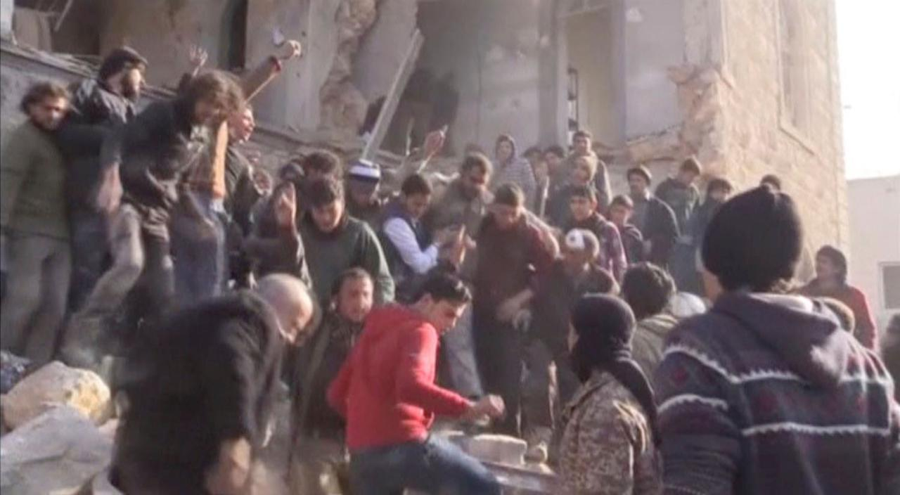 <p>A still image taken from a video obtained by Reuters shows an injured man rescued from a damaged building after a fuel truck blast in the centre of rebel-held Azaz, near Syria's border with Turkey, January 7, 2017. (REUTERS TV/via Reuters) </p>